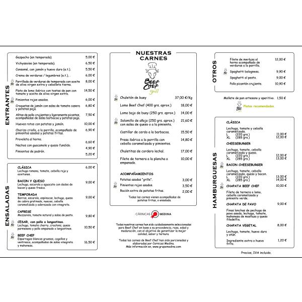 Carta Restaurante Parrilla en Las Rozas