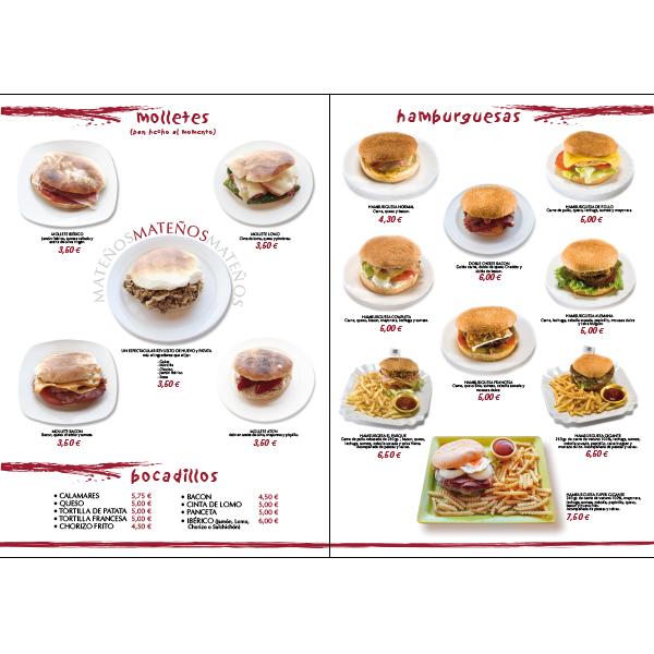 Carta restaurante de comida rápida y casera.