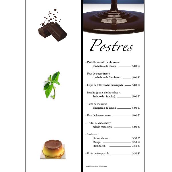 Carta postres restaurante marisqueria