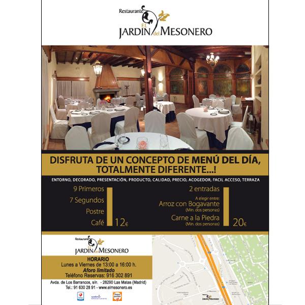 Flyer restaurante A5 de LAs Rozas de Madrid.